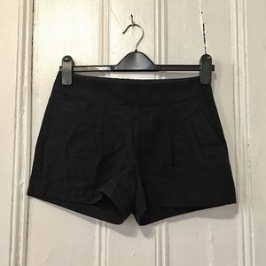 J. Crew Black Pleated Linen Shorts